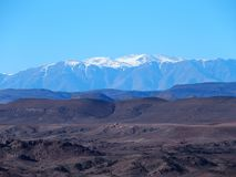 High ATLAS MOUNTAINS range landscape in central MOROCCO in Africa. High ATLAS MOUNTAINS range landscape in central MOROCCO seen from location near Ouarzazate Royalty Free Stock Image