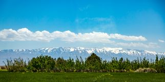 High Atlas Mountains. Snow covers the High Atlas Mountains in Morocco, North Africa royalty free stock photo