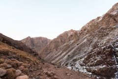 High Atlas Mountains. Walking hiking trail. Morocco, winter. Wil Royalty Free Stock Photography