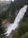 High Austrian Krimml waterfall flowing in uncanny intensity stock photography