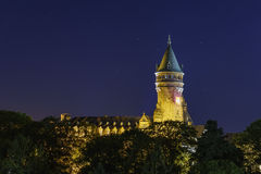 High Authority of the European Coal and Steel Community. Of Luxembourg at night Royalty Free Stock Photo