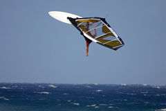 High backloop windsurfing. Very high jump windsurfing Stock Image