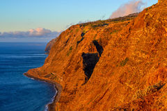 High bank at sunset. Madeira. Portugal stock photo