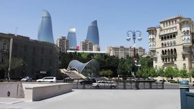 High and beautiful blue skyscrapers in Baku. The famous `Flame Towers` in Azerbaijan`s capital Baku stock video
