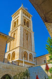 The high bell tower of the Lutheran Kirche Royalty Free Stock Images
