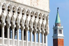 High Bell Tower of San Giorgio and the glorious  Palazzo ducale Stock Photo