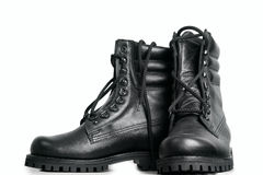The high black leather boots. On white background Royalty Free Stock Photography