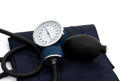 High blood pressure. A blood pressure reading device, Sphygmomanometer on white, High blood pressure Stock Images