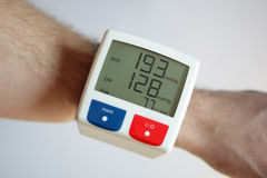 High blood pressure. Blood pressure monitor with very high reading concept for illness and heart risk Stock Photography