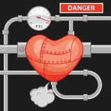 High blood pressure. Illustration of an overloaded blood circuit Royalty Free Stock Photos