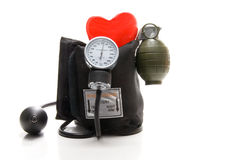 High Blood Pressure. The concept of high blood pressure causing heart disease Stock Image