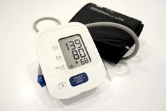 High blood pressure on hospital table. An instrument to mesure blood pressure royalty free stock images
