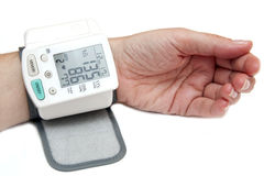 High blood pressure isolated on white stock photography