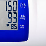 High Blood pressure. Results on a digital display Stock Photo