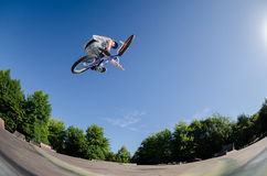 High BMX jump. In a skate park Royalty Free Stock Photo