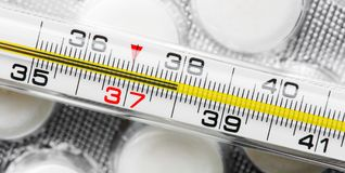 High body temperature. Illness. Measurement of body temperature, illness Stock Image