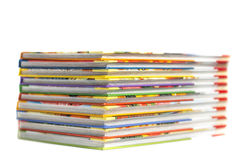High books stack isolated on white background Royalty Free Stock Photo
