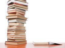 High books stack on white background Royalty Free Stock Photography