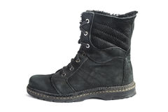 High boot. Black shammy winter high boot isolated over white Royalty Free Stock Image