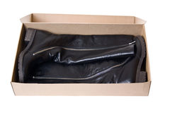High boots in a box Stock Photography