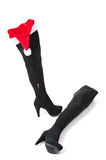 High boots with christmas hats Stock Photography