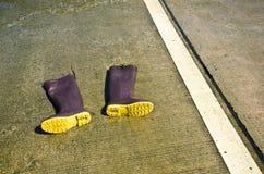 High boots on concrete. Stock Photos