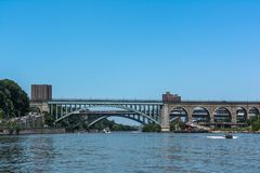 High Bridge over the Harlem River, Manhattan, NYC. View of High Bridge from the Harlem River, Manhattan, NYC stock photography