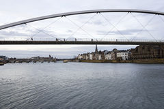 High bridge and Saint Servatius Bridge over the Maas river in Maastricht Stock Image
