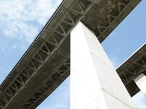 High bridge structure. Structure of elevated bridge for vehicles Stock Image