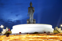 High Buddha statue at twilight in Visakha Puja day Royalty Free Stock Photography