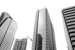 High building in capital city. High building in capital city black and white Stock Images