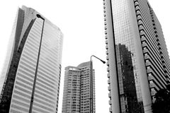 High building in capital city. High building in capital city black and white Royalty Free Stock Images