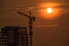 High building construction with the sunset light Stock Images