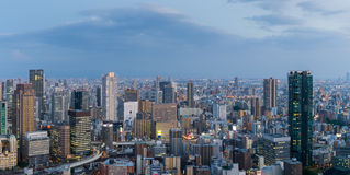 High building and expressway in Osaka at night Royalty Free Stock Images