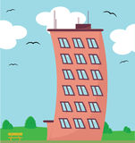 High building, vector. Illustrated high curved building with surroundings, vector Stock Photo