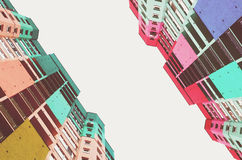 High buildings of the city. Urban background wallpaper textures cityscape skyscraper geometric symmetric Royalty Free Stock Photography