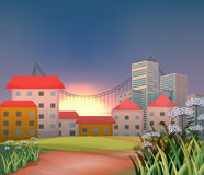 High buildings at the hilltop. Illustration of the high buildings at the hilltop Royalty Free Stock Images