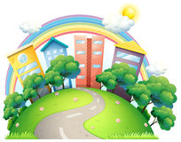 The high buildings and the rainbow Royalty Free Stock Image