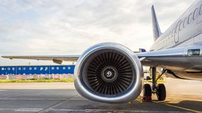 High-bypass turbofan aircraft engine, installed on modern passenger jet aircraft. The turbofan or fanjet is a type of airbreathing jet engine that is widely royalty free stock photos
