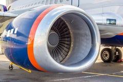 High-bypass turbofan aircraft engine, installed on modern passenger jet aircraft royalty free stock photos