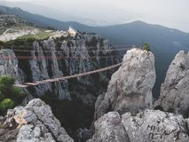 The high cable briges in the peak of Ai-Petri mountain stock photos