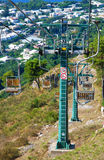 High cable car with open seats royalty free stock photo