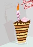 High cake. Happy birthday postcard Stock Image