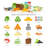 High calcium food infographic elements flat vector illustration, banner. The products with calcium icon set, vegetables. Milk, soy, seafood. Healthy diet Stock Photography