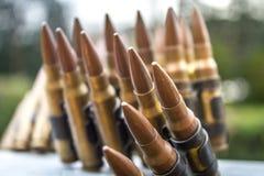 High Caliber Bullets Belt. Closeup bokeh Stock Photography