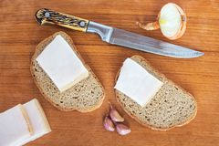 High-calorie and nutritious food to restore strength: bread, fat. Onions and garlic Stock Photography