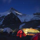 High camp. Highaltitude camp on the Aconagua, Argentina Royalty Free Stock Photo
