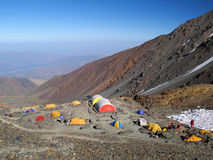 High camp. High Mountain Camp - Cerro Vallecitos - Andes - Mendoza - Argentina stock images