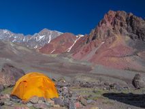 High camp. High Mountain Camp - Cerro Vallecitos - Andes - Mendoza - Argentina royalty free stock photography