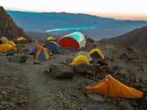 High camp. High Mountain Camp - Cerro Vallecitos - Andes - Mendoza - Argentina Stock Image